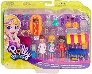 Kit Polly 3 Bonecas Carrinhos de Moda e Comida Mattel GFR10