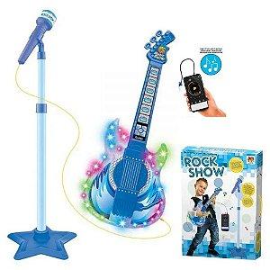 Guitarra Infantil Com Microfone Pedestal Toca MP3 Luz Azul