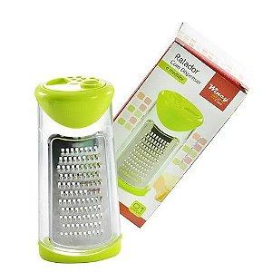 Ralador 1 Face De Inox Com Dispenser / Queijeira De Plastico