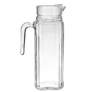 Jarra Vidro Lisa Com Tampa Branca 1 Litro Agua Suco