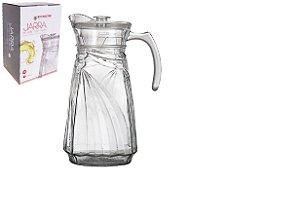 Jarra de vidro relevo com tampa de acrilico 1,8