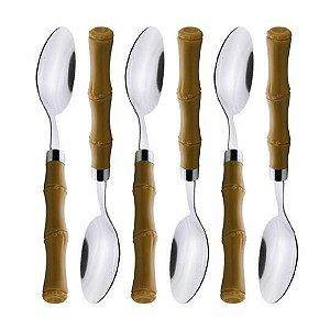 Cj 6 Colheres mesa De Aco Inox cabo De Plastico Bambu
