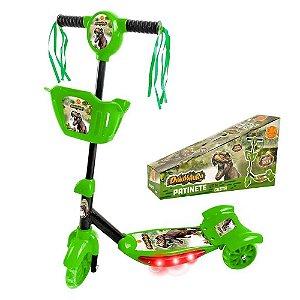 Patinete com Cesta Infantil 3 Rodas  Radical Dinossauro Luz e som