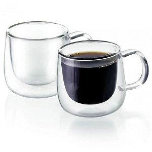 Conjunto 02 Copos Xicara Para Cafe Com Parede De Vidro Dupla