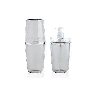 Kit Banheiro Dispenser Sabonete Liquido + Porta Escova Dente