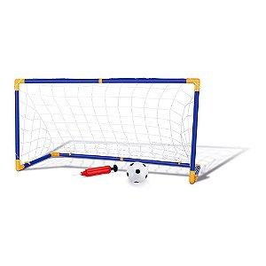 Trave e Bola Infantil Chute a Gol com Rede Bomba Brinquedo Futebol DMT5075
