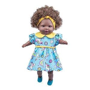 Boneca Infantil Bebe Negra Tayla  Acessorio Cabelo Castanho
