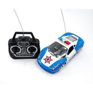 Carrinho De Policia Com Controle Remoto Police Car Azul