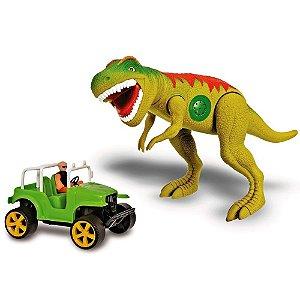 Dinossauro T-rex Tirano Rex Com Jipe Safari 43cm