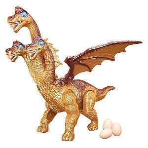 Dinossauro com 3 Cabecas e Asas Emite Som e Luz e Bota Ovos
