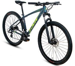 Bicicleta Aro 29 TSW Hunch Shimano Altus Freio Hidráulico 24 velocidades 2021/2022 Cinza/Verde
