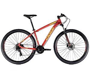 Bicicleta Aro 29 Hacker HDS OGGI Shimano Tourney 24 velocidades 2021 Vermelho/Amarelo