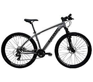 Bicicleta Aro 29 Aluminium Lotus Shimano Tourney 21 Velocidades Freio Mecânico Cinza/Preto