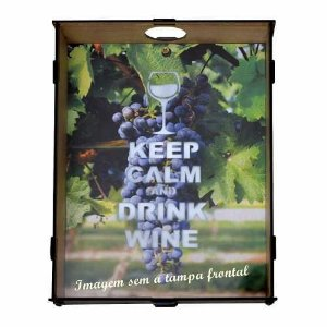 PORTA ROLHAS KEEP CALM AND DRINK WINE 28 X 21 X 6CM