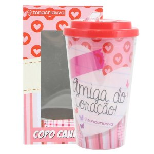 COPO CANUDO PVC AMIGA DO CORAÇÃO 500ML