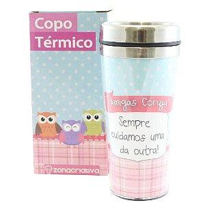 COPO TÉRMICO COM TAMPA AMIGAS CORUJA 450ML