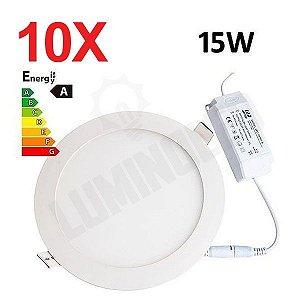 10 Unidades - Luminaria Led Plafon Embutir Redonda 15W Ultra Slim -  3000K / 6000K