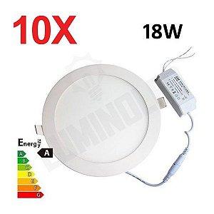 10 Unidades - Luminaria Led Plafon Embutir Redonda 18W Ultra Slim -  3000K / 6000K