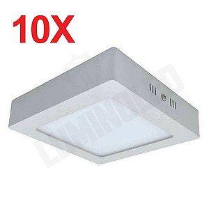 10 Unidades - Luminaria Led Plafon Sobrepor Quadrado 12W - 3000K / 6000K