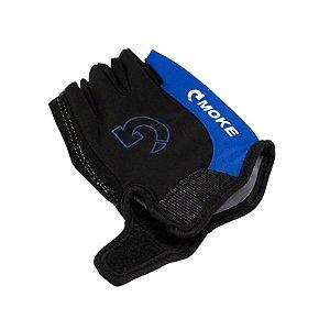 Luva de Ciclismo Moke Meio Dedo com Gel Azul