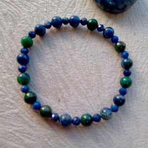 Pulseira Crisocola 6mm intrcalada com Lápis Lazuli facetado 4mm