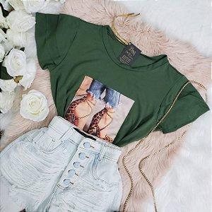 T-shirt Babados Mangas Verde