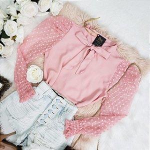 Camisa Crepe Manga Longa Tule Rosa