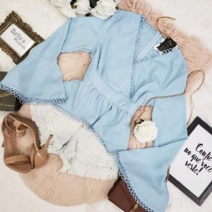 Camisa Peplum Manga Longa Azul Bebê