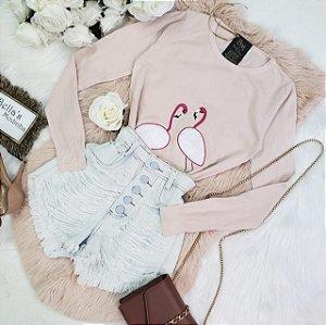 Blusa Tricozinho Flamingo Rose
