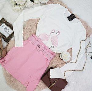 Blusa Tricozinho Flamingo Off