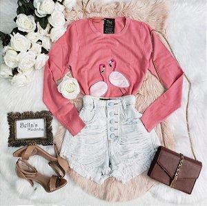 Blusa Tricozinho Flamingo Goiaba