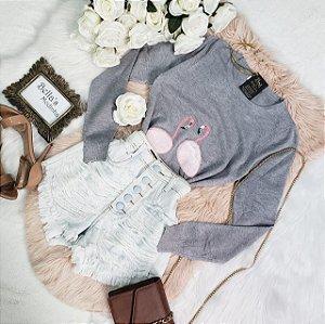 Blusa Tricozinho Flamingo Cinza