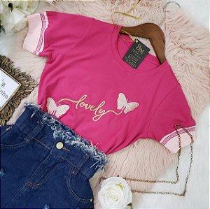 T-shirt Borboletas Lovely Pink