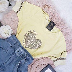T-shirt Coração Dourado
