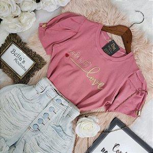 T-shirt Love Botão Rose