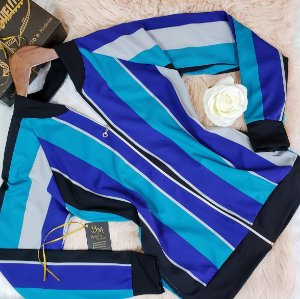 Jaqueta Bomber com Zíper Listrada Azul