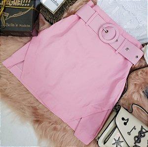 Shorts Saia Bengaline Com Cinto Rosa Bebê