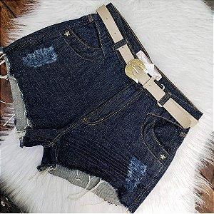 Shorts Jeans Com Cinto Bege 42