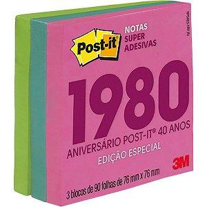 POST-IT 76X76MM C/270 FOLHAS COLEÇÃO ANOS 80 3M