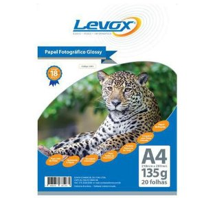 PAPEL GLOSSY A4 135G PACOTE C/20 FOLHAS LEVOX 2461