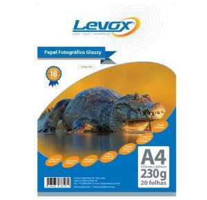 PAPEL GLOSSY A4 230G PACOTE C/20 FOLHAS LEVOX 2463