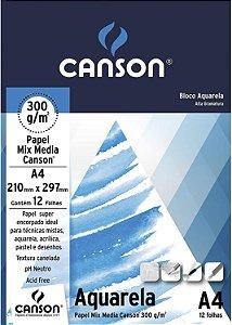 BLOCO AQUARELA A4 300G COM 12 FOLHAS CANSON 66667180