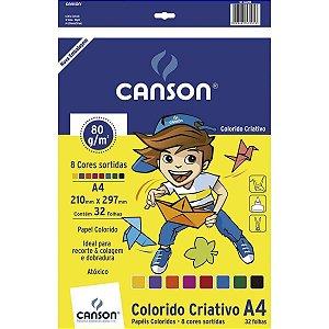 BLOCO CRIATIVO A4 80G 8 CORES COM 32 FOLHAS CANSON 66667088