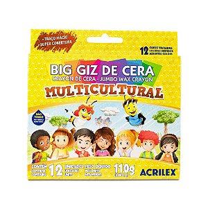 BIG GIZ DE CERA MULTICULTURAL C/12 CORES 110G ACRILEX 09122