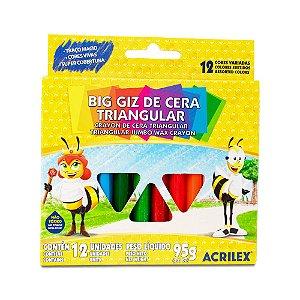 BIG GIZ DE CERA TRIANGULAR C/12 CORES 95G ACRILEX 09312