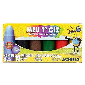 GIZ DE CERA MEU 1º GIZ C/12 CORES 370G ACRILEX 09512