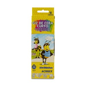 GIZ DE CERA CURTO C/15 CORES 68G ACRILEX 09215
