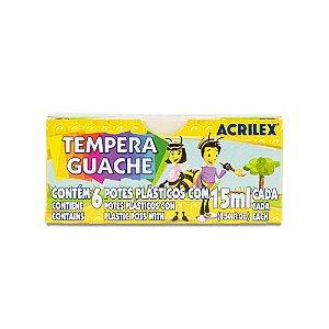 TINTA TEMPERA GUACHE 15ML C/6 CORES ACRILEX 02020