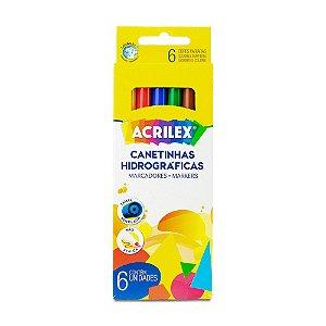 CANETINHA HIDROGRÁFICA C/6 CORES ACRILEX 06926