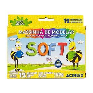 MASSINHA DE MODELAR SOFT C/12 CORES 180G ACRILEX 07312